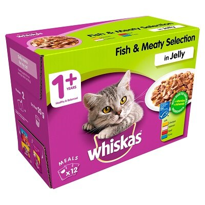 Whiskas 1+ Fish & Meat Selection in Jelly Pouches 4 x 12 x 100g