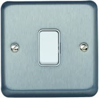 MK ALBANY BRUSHED CHROME FLUSH SWITCH 1 GANG