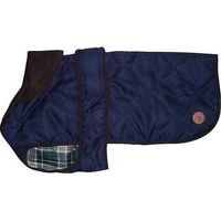 "Country Pet Dog Coat - Quilted Navy Blue 35cm/14"" x 1"
