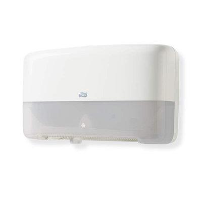 TORK 555500 Twin Mini Jumbo Toilet Roll Dispenser, White