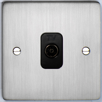 DETA Flat Plat  TV co axial plate Satin Chrome with Black Insert | LV0201.0179