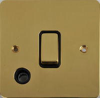 Flat Plate Polished Brass 20A DP Switch F/OUT Black | LV0701.0345