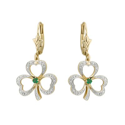 14K DIAMOND & EM SHAMROCK DROP EARRINGS(BOXED)