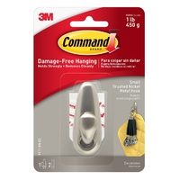 Command Metal Hook Brushed Nickel Finish FC11-BN