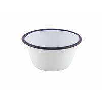 Round Deep Pie Dish Enamel White With Blue Edge 12cm