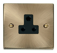 Click Deco Victorian Antique Brass with Black Insert 5Amp Socket | LV0101.0015