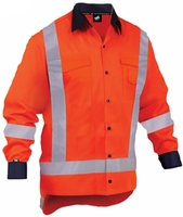 TWZ Hi Vis TTMC-W Long Sleeve Cotton Shirt 150gsm