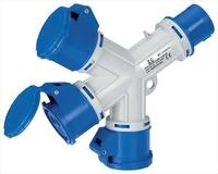 IP44 3-Way Multiplier & Plug 2 Pin + Earth 220-240V 16A