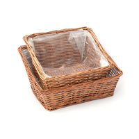 BASKET RECT S/2 46X33X25,38X28X22CM BROWN