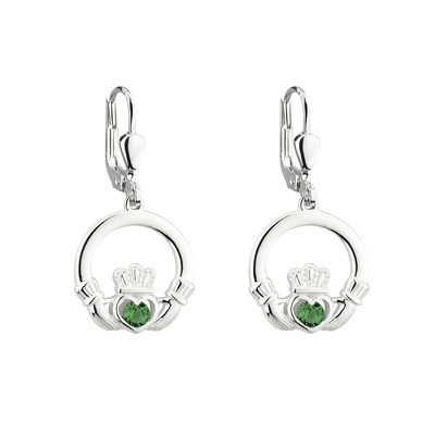 S/S CRYSTAL CLADDAGH DROP EARRINGS