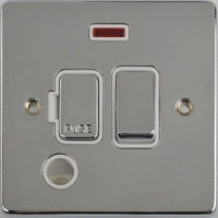 Schneider Ultimate Low Profile Fused Spur with Neon & Flex outlet Polished Chrome with White Insert | LV0701.0234