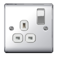 NEXUS POLISHED CHROME 13A 1 GANG SWITCHED SOCKET WHITE INSERT