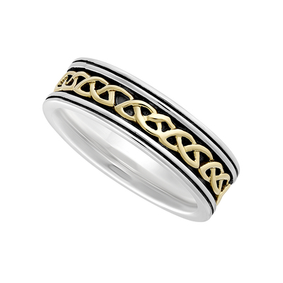 SILVER & 10K LADIES OXIDISED CELTIC KNOT BAND(BOXED)