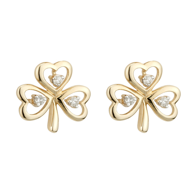 10K CZ SHAMROCK STUD EARRINGS(BOXED)