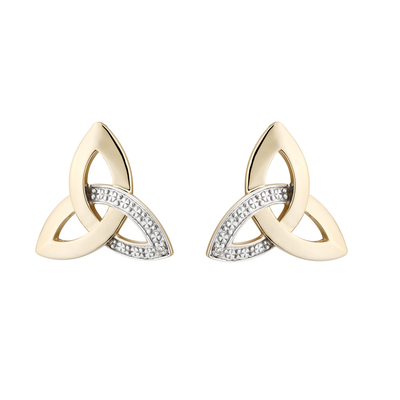 9K DIAMOND TRINITY STUD EARRINGS