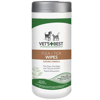 Vet's Best Natural Flea & Tick Wipes for Dogs & Cats 50-Wipe Tub x 1