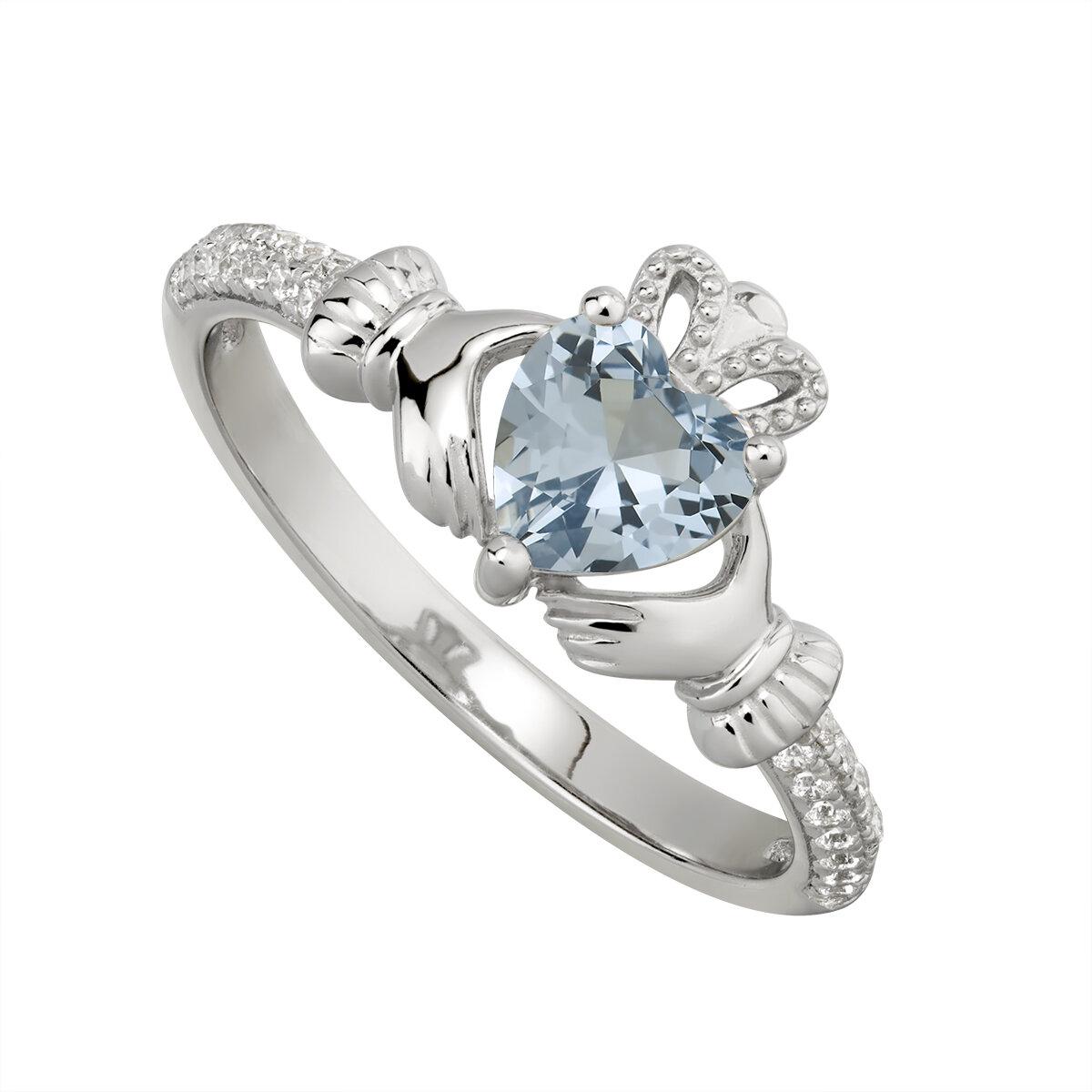 sterling silver claddagh ring december birthstone s2106212 from Solvar