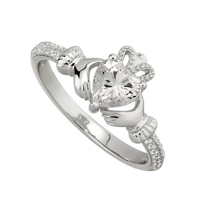 sterling silver claddagh ring april birthstone s2106204 from Solvar