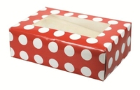 6 cupcake Red / White Polka Dot boxes and inserts 25pack