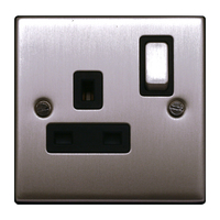 FEP Low Profile Satin Chrome 13A 1G DP Switch Socket Black Insert Chrome Switch | LV0801.0013