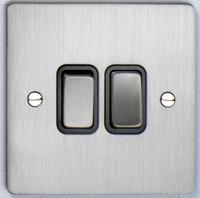 DETA Flat Plate 2gang switch Satin Chrome with Black Insert | LV0201.0161