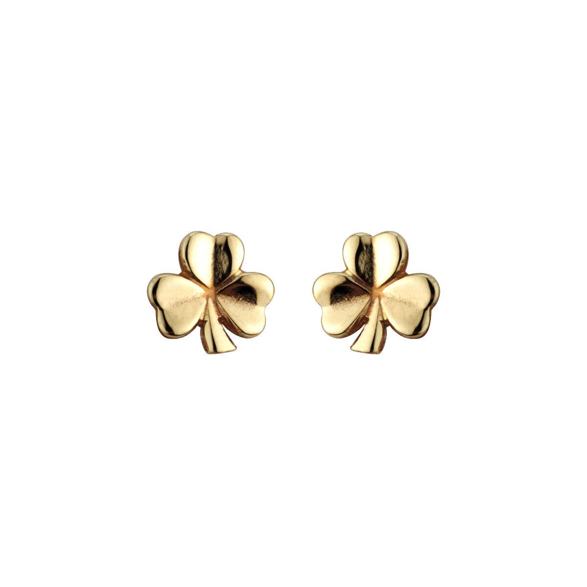 14k gold shamrock stud small earrings s3958 from Solvar