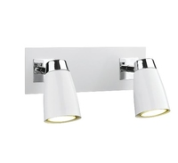 Loft 2 Light Low Energy Spot, Switched Polished Chrome and Matt White  | LV1802.0034