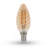 4w Candle Filament Bulb E14 Amber Cover with Twist 2200K
