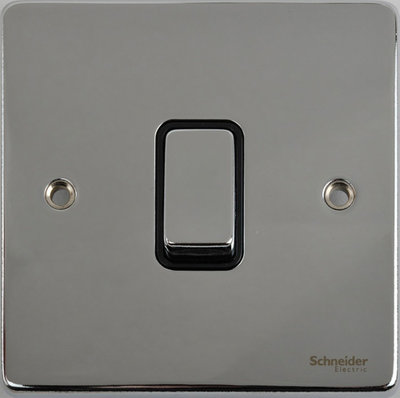 Schneider Ultimate Low Profile 1gang switch Polished Chrome with Black Insert | LV0701.0056