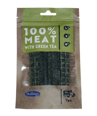 Hollings 100% Natural Beef Small Bar with Green Tea 7pk x 10