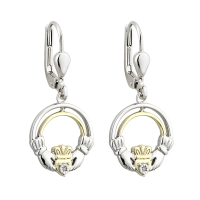 SILVER 10K GOLD & DIA CLADDAGH EARRINGS(BOXED)