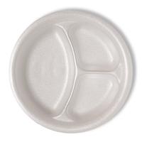 "Unlaminated Round 3-Compartment Foam Plate 254mm (10.0"")"