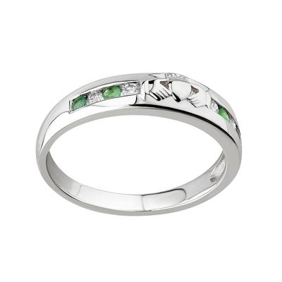 14K DIAMOND & EMERALD CLADDAGH ETERNITY RING