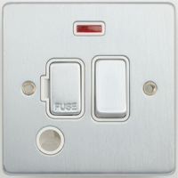 Schneider Ultimate Low Profile Fused Spur with Neon & Flex outlet Brushed Chrome with WhiteI Insert | LV0701.0217