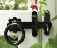 "6"" Black Twisted Ring Gate Latch PP"