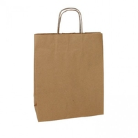 PAPER BAG NATURAL KRAFT SMALL 25X12X30 PKT 25