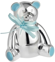 Silver Plated Teddy Bear Money Box (Blue) | T