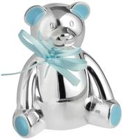 Silver Plated Teddy Bear Money Box (Blue) | T
