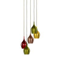 Vibrant 5 Light Multi-Drop Pendant With Multi-Coloured Shades