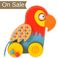 Wooden parrot push and roll toy
