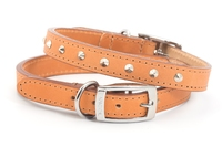 "Ancol Heritage Studded Leather Collar Tan Size 1 12"" x 1"