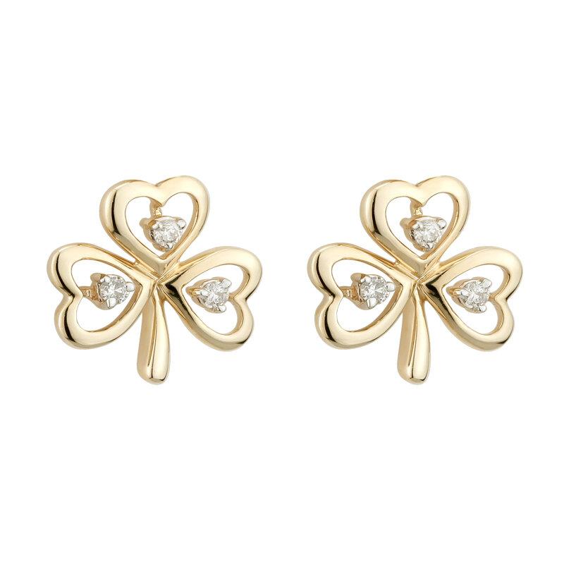14K gold diamond shamrock earrings s33482 from Solvar