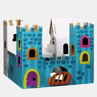 Build and paint cardboard castle that can be played with after it's made