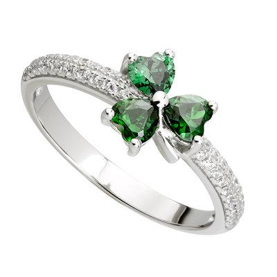 ladies sterling silver green cubic zirconia shamrock ring s21039 from Solvar