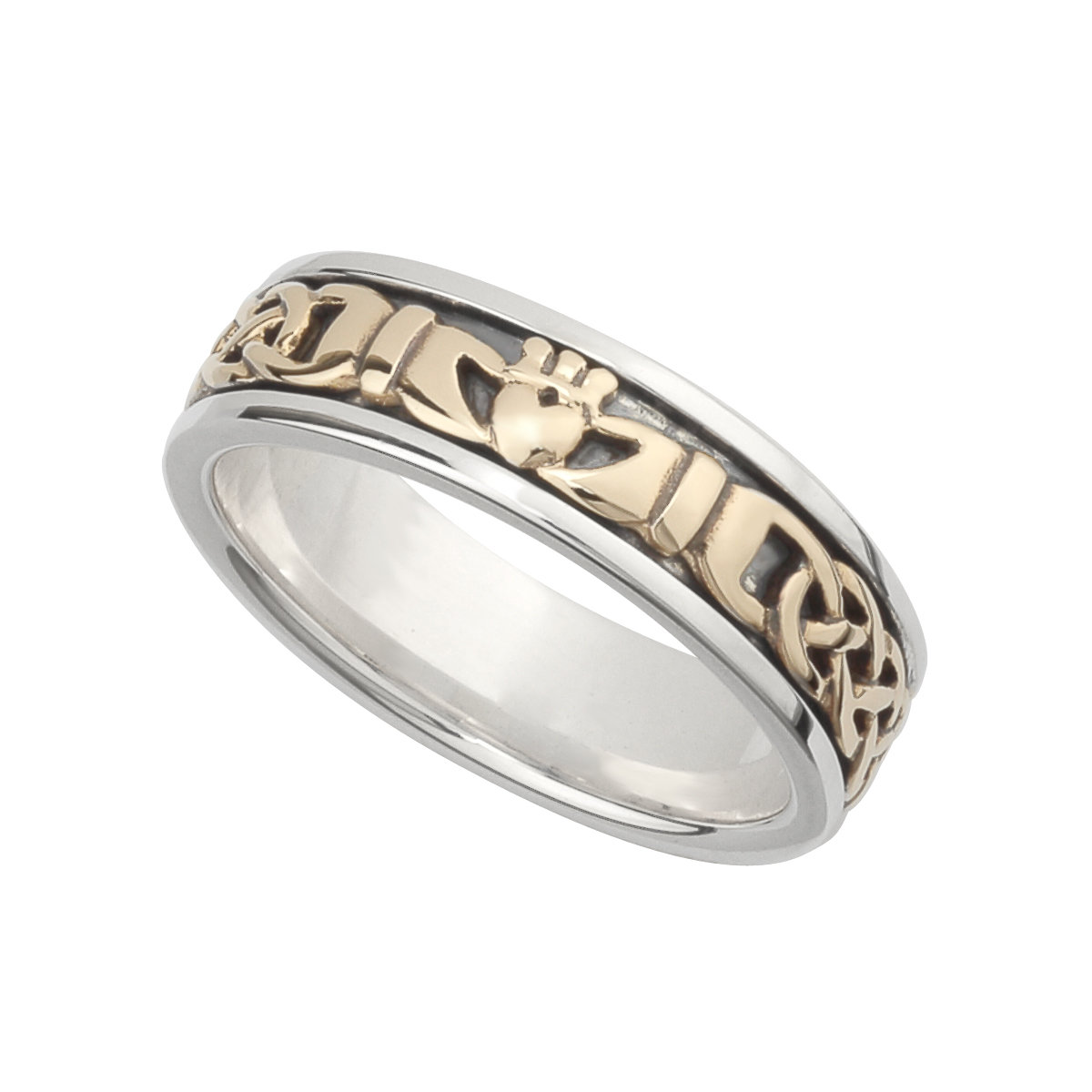 Ladies gold and silver claddagh band ring s21007 from Solvar
