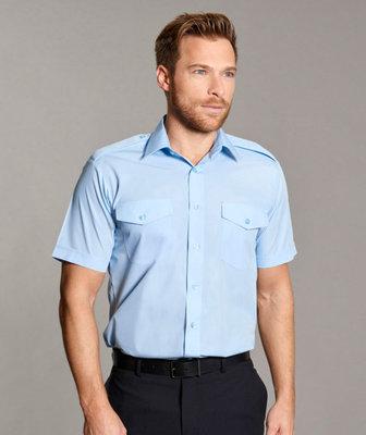 Disley Gents Blue Pilot Shirt Short Sleeve