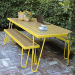 Paulette Outdoor Table and Bench Set (Yellow) 3