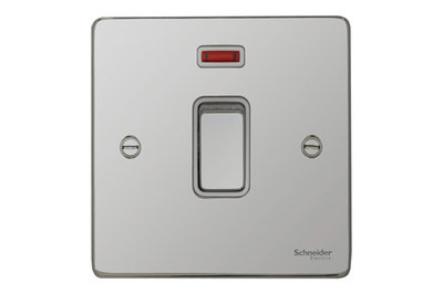Schneider Ultimate Low Profile 20Amp Double pole switch with neon Polished Chrome with White Insert | LV0701.0051