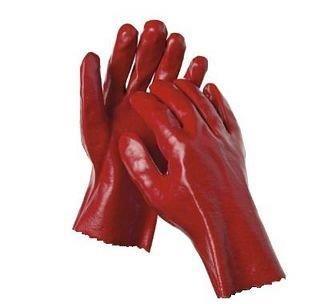 GLOVE OPEN WRIST RED PVC
