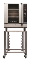 Blue Seal Turbofan Convection Oven, gas, countertop, 735 mm wide, (4) tray capacity, (4) wire racks, thermostat control, (1) hinged reversible glass door, internal light, Bi-directional fan motor, stainless steel top & sides, 33,000 BTU, supplied with (4)